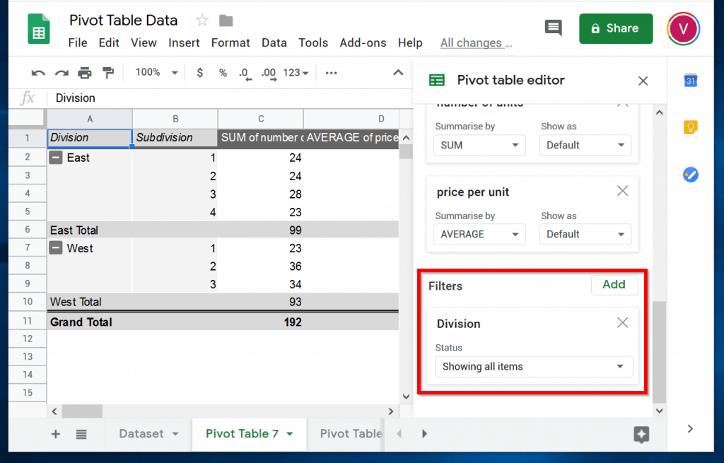 How to Filter Data in a Pivot Table in Google Sheets