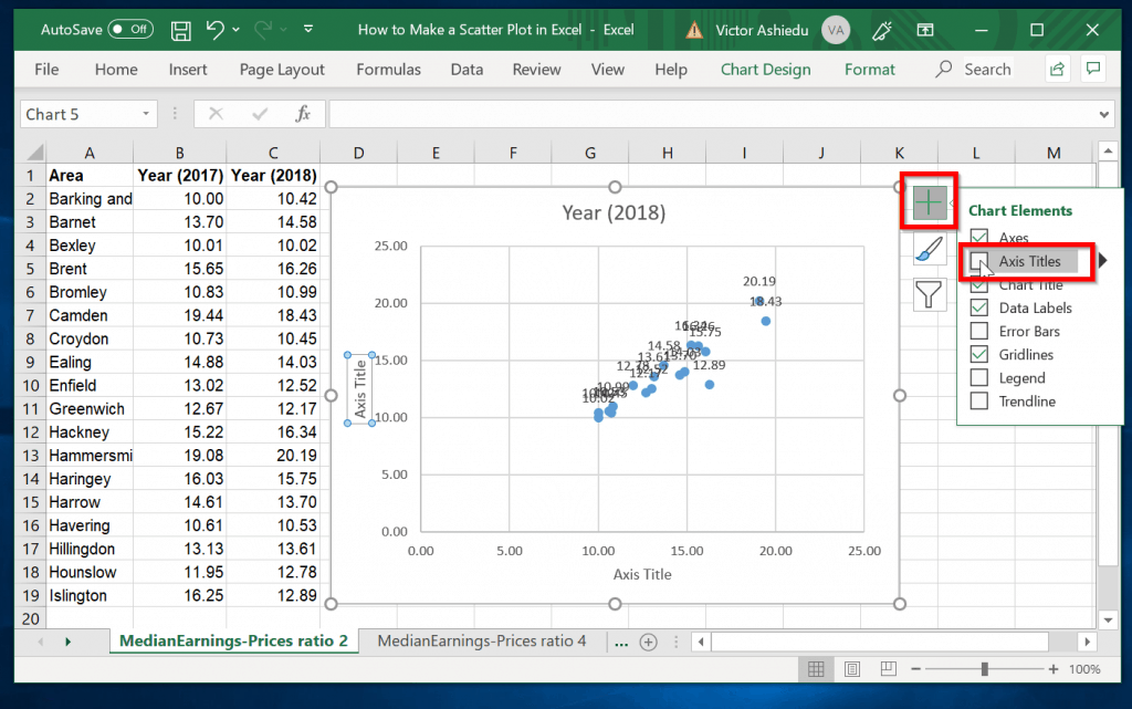 How to insert scatter chart Axis Titles
