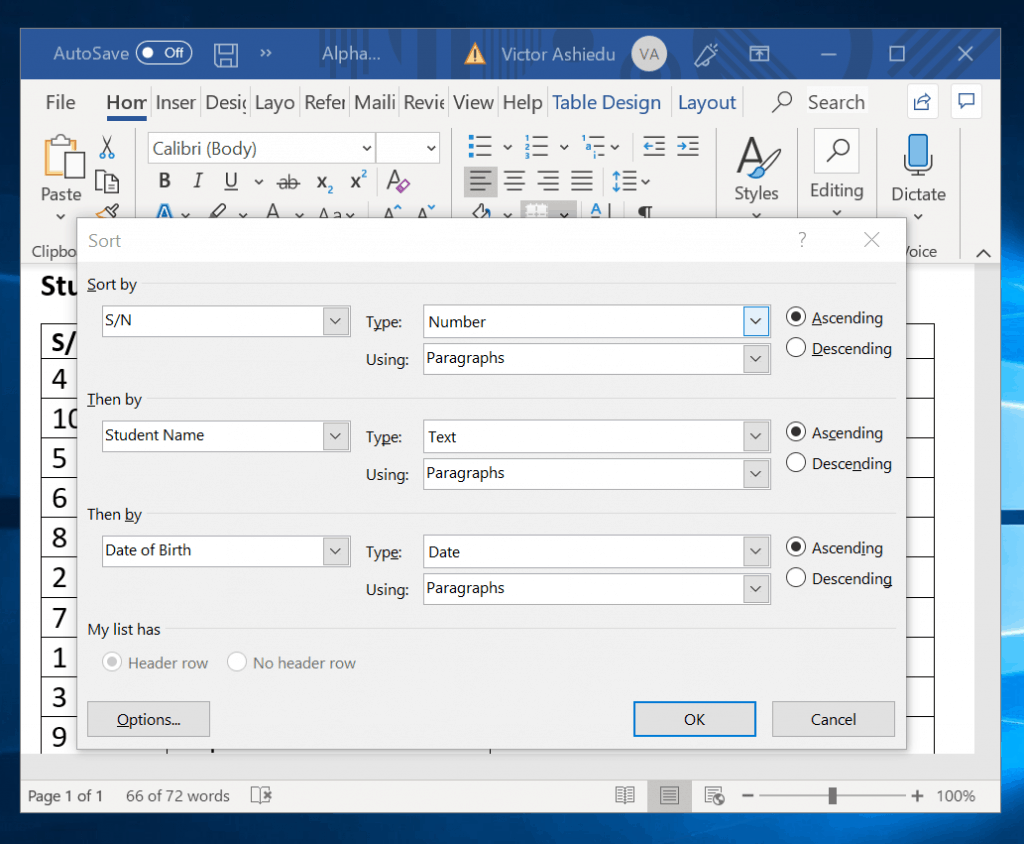 How to Alphabetize a Table in Word by Multiple Headers
