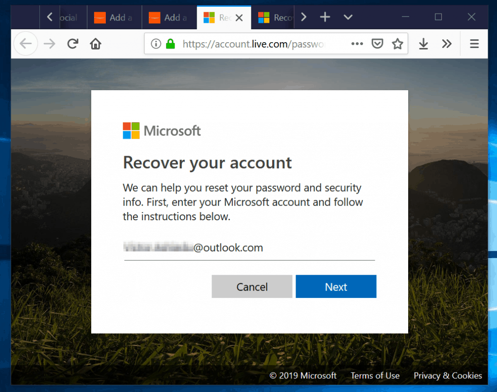 How to Change Outlook Password in Outlook.com - step 1