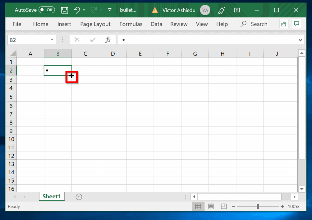bullet points in excel - copy bullet points