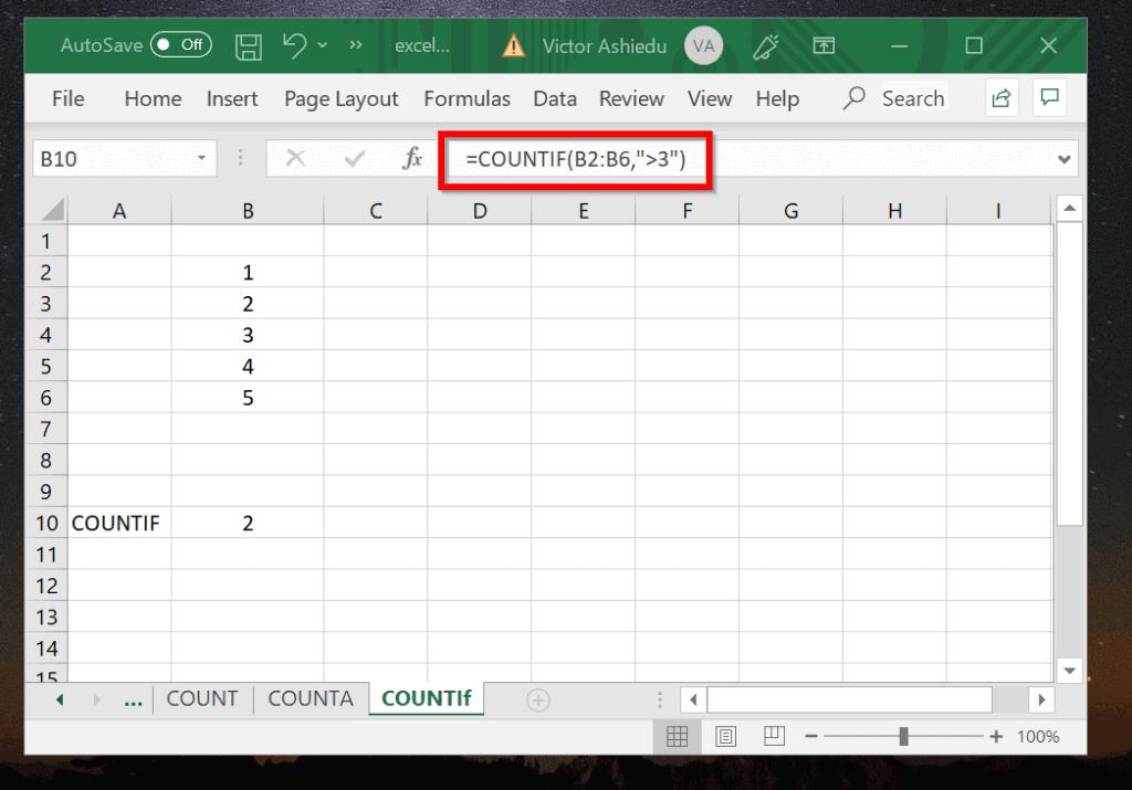 Excel COUNTIF Example