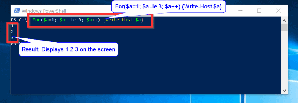 Powershell For Loop Example 1: Basic