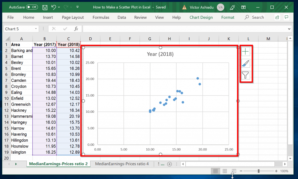 How to Add Labels to Scatter Plot in Excel - click scatter chart to display chart display options