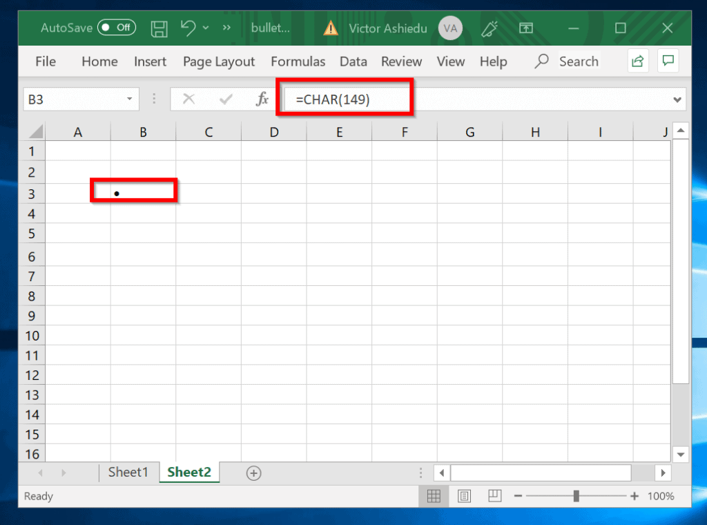 Method 4: Insert Bullet Points in Excel Using Excel Formula - CHAR function