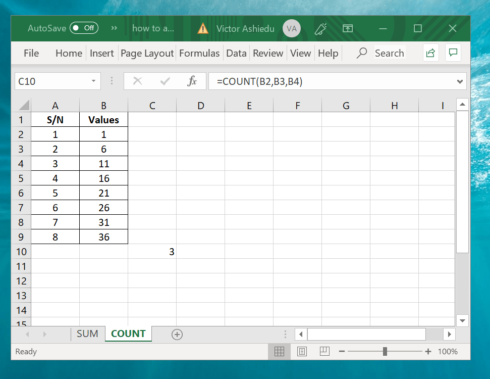 How to Count in Excel Using Excel Count Function