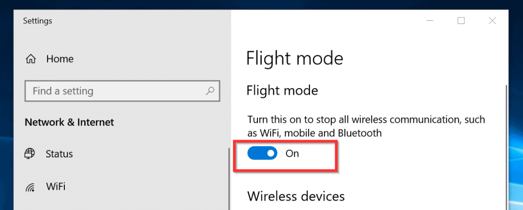How to Fix Mobile Hotspot Greyed Out on Windows 10 - turn fligh mode off