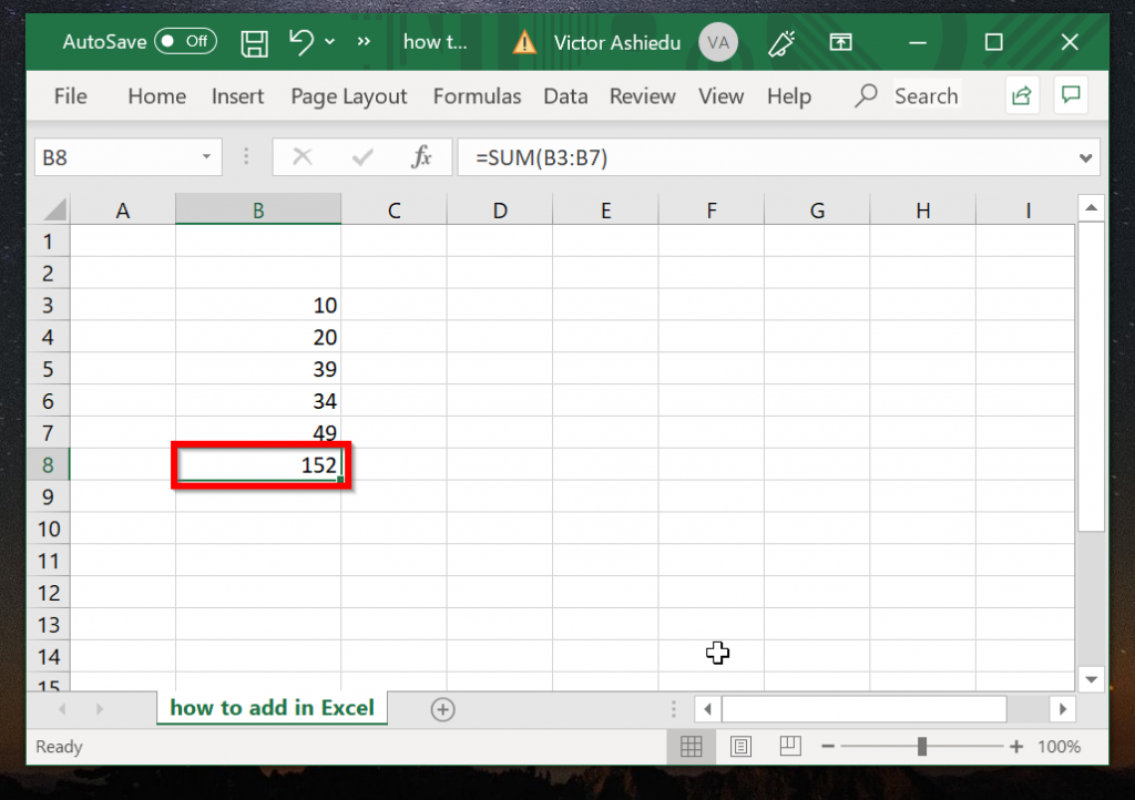 How to Add Columns in Excel with AutoSum