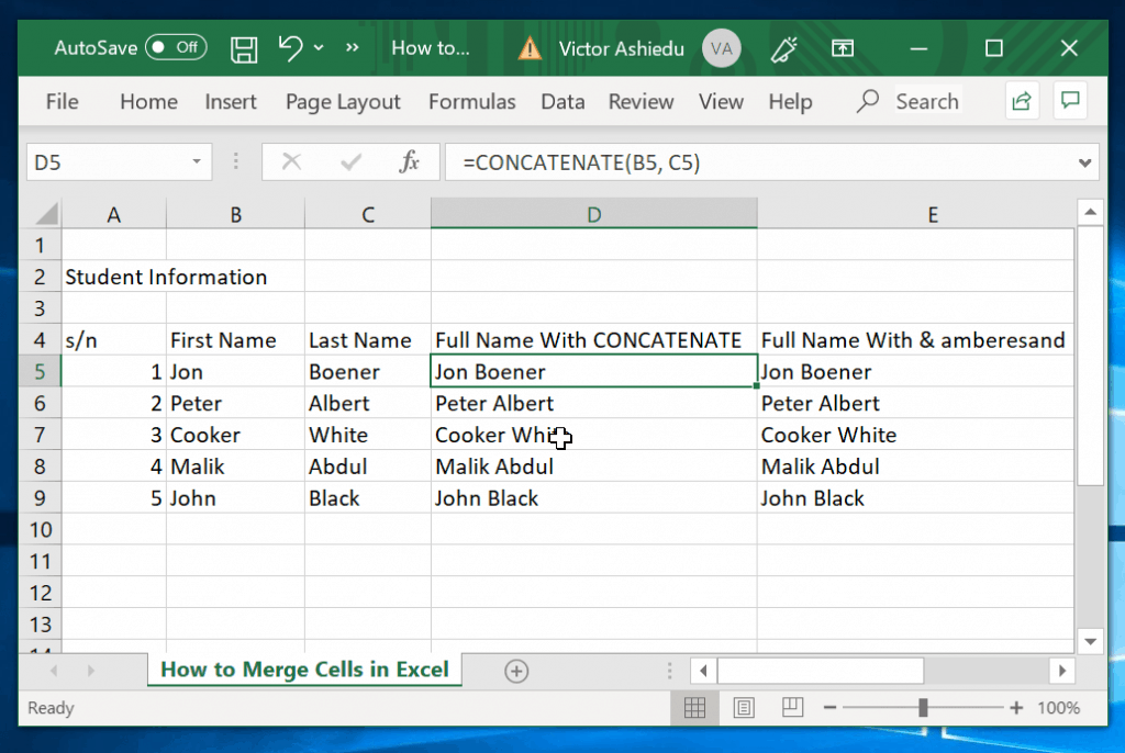How to Merge Cells in Excel with CONCATENATE