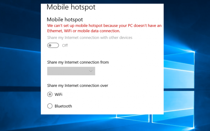 mobile hotspot greyed out windows 10