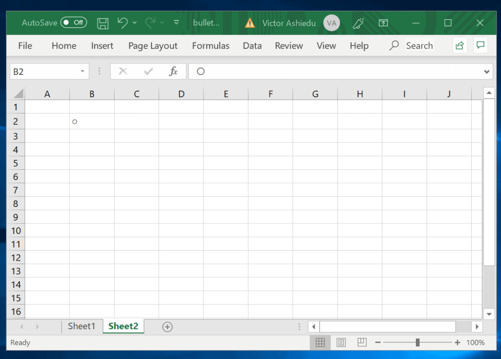Insert Bullet Points in Excel Using Keyboard shortcuts