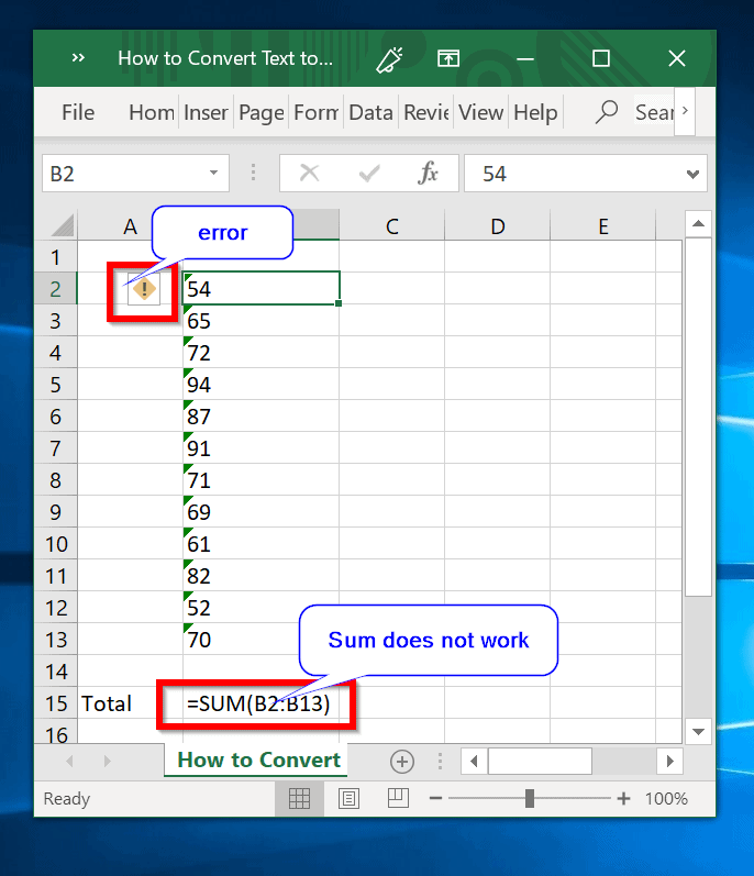 excel convert text to number - numbers formatted as text throw errors and cannot be sumed