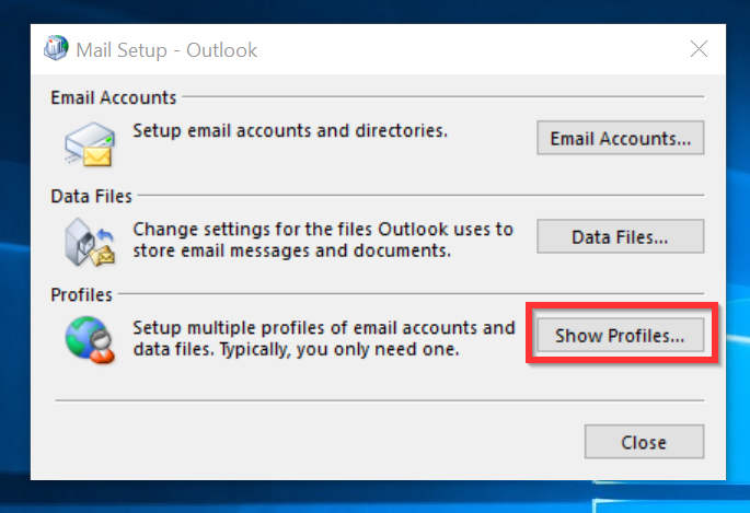 Cannot Start Microsoft Outlook - create new outlook profile