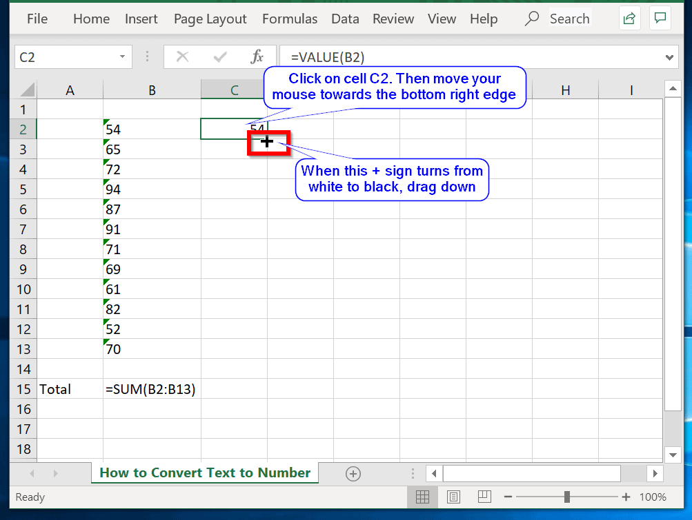 Convert Text to Number in Excel Using Formula Method - drag =VALUE() formula to the other cells