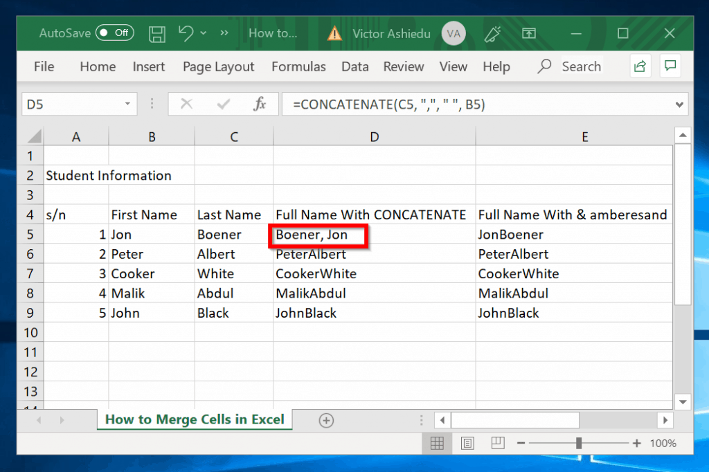 """How to Merge Cells in Excel with """"&"""" (Ampersand)"""