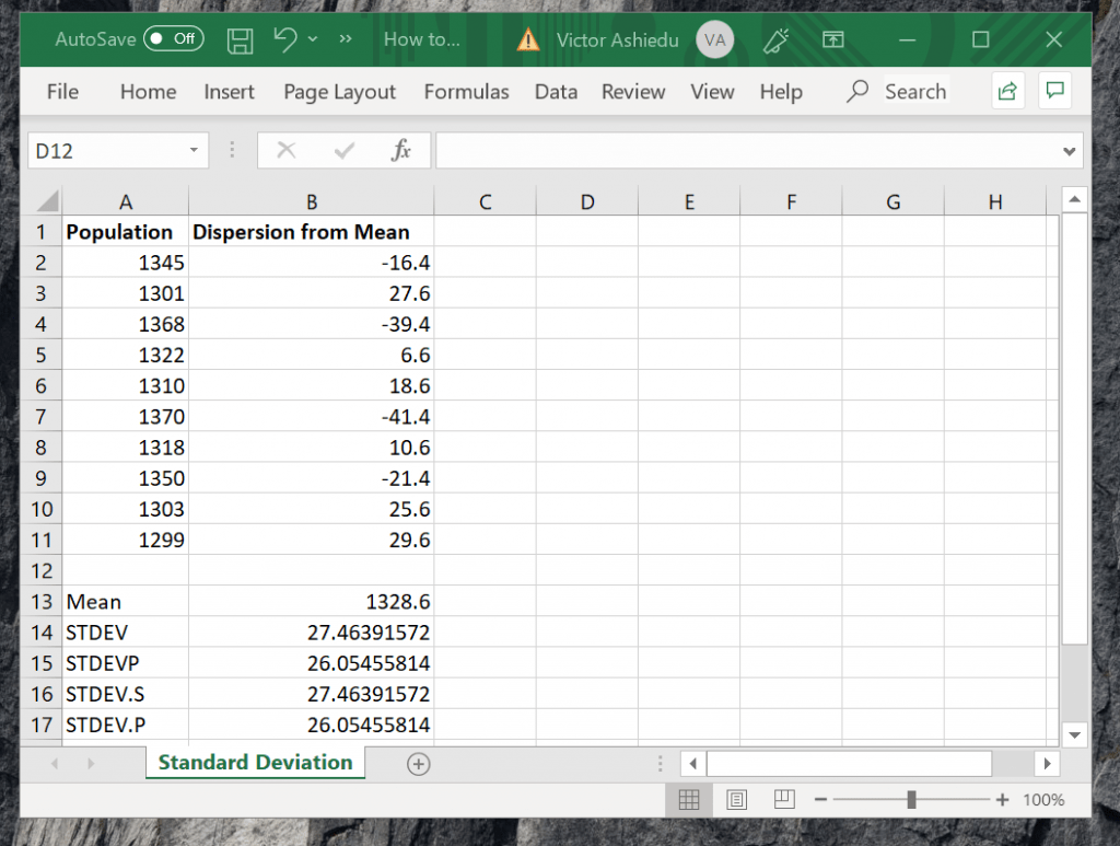 How to Calculate Sample Standard Deviation in Excel with STDEV Function