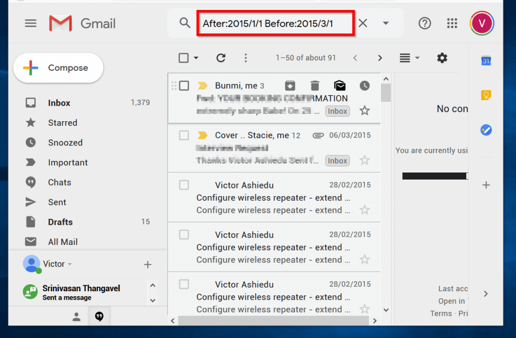 search Gmails by date - after but before a certain date