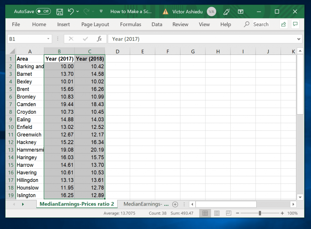 How to Make a Scatter Plot in Excel with Two Sets of Data - select the data sets