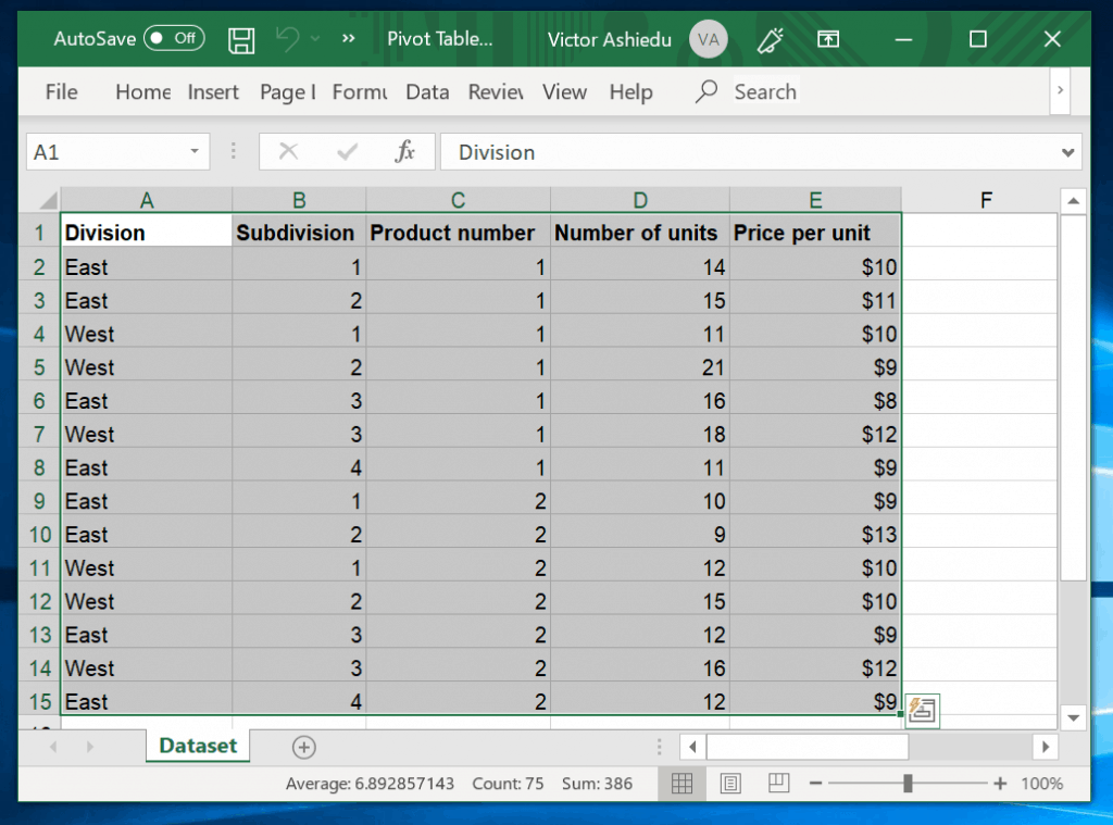 How to Make a Pivot Table With Excel Recommended PivotTables - select data including column headers