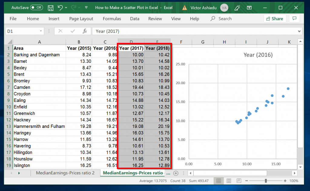 How to Make a Scatter Plot in Excel with Multiple Data Sets - Select the next sets of data you wish to include into the Scatter plot in Excel