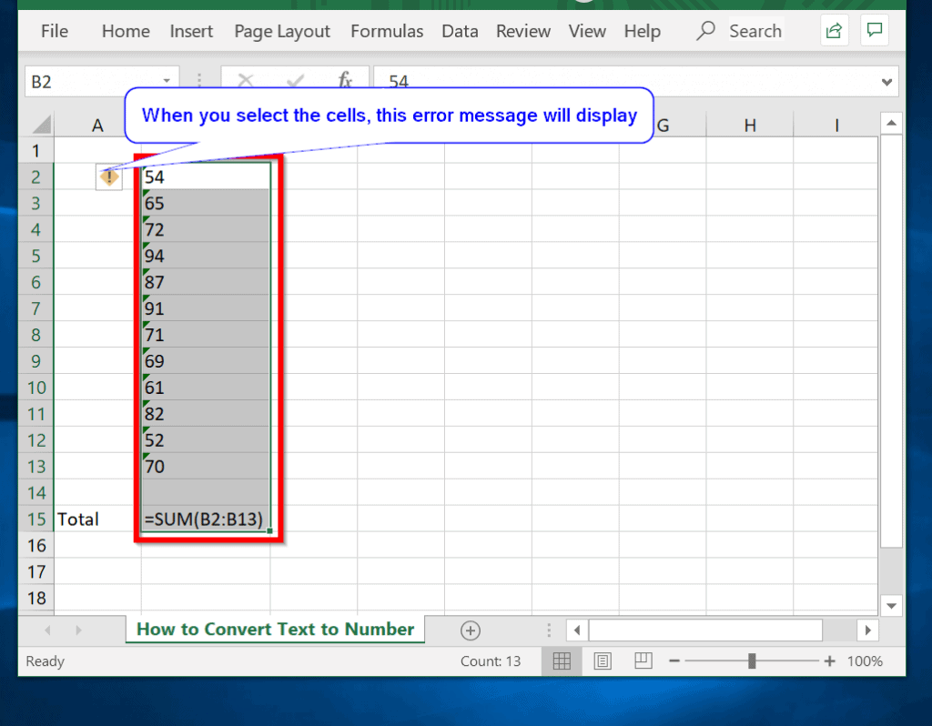 Convert Text to Number in Excel From the error Message