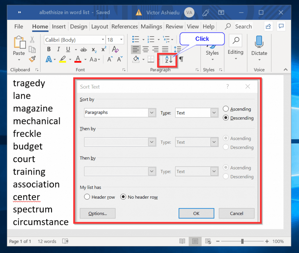 How to Alphabetize a List in Microsoft Word