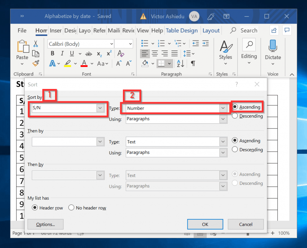 How to Alphabetize in Word (Sort Lists or Tables in