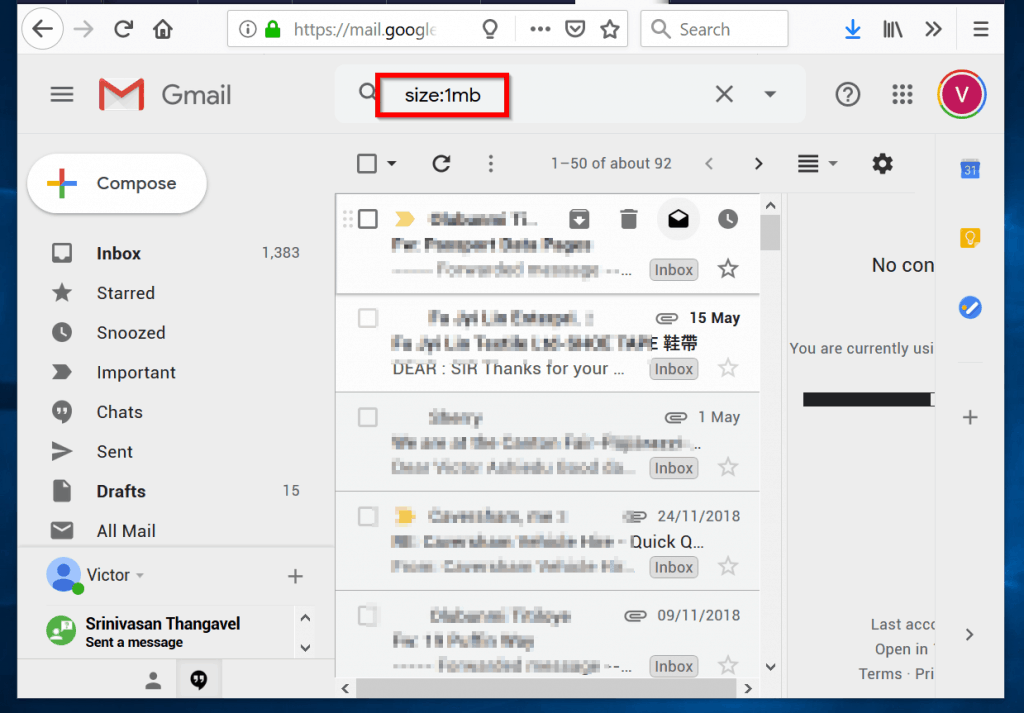 sort gmail by size - search using size operator