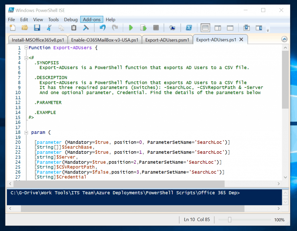 add contents to the short (SYNOPSIS) and long DESCRIPTION sections of the powershell function
