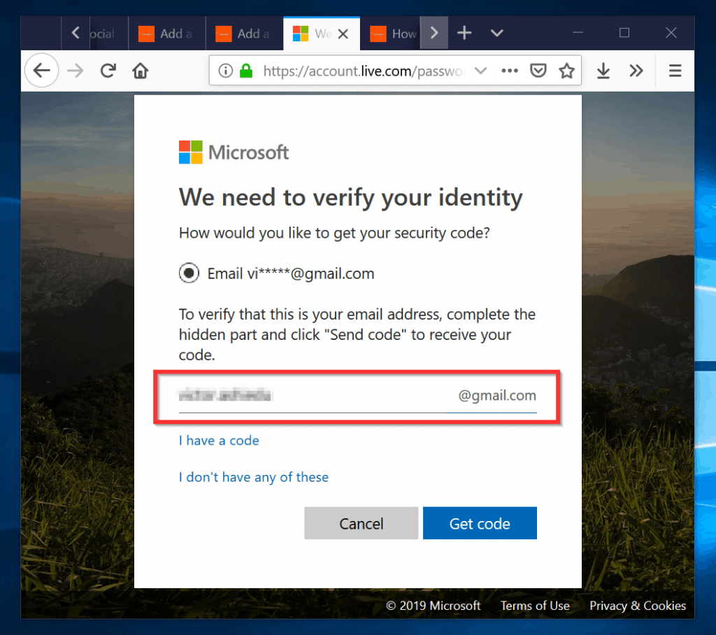 How to Change Outlook Password - select a verification method
