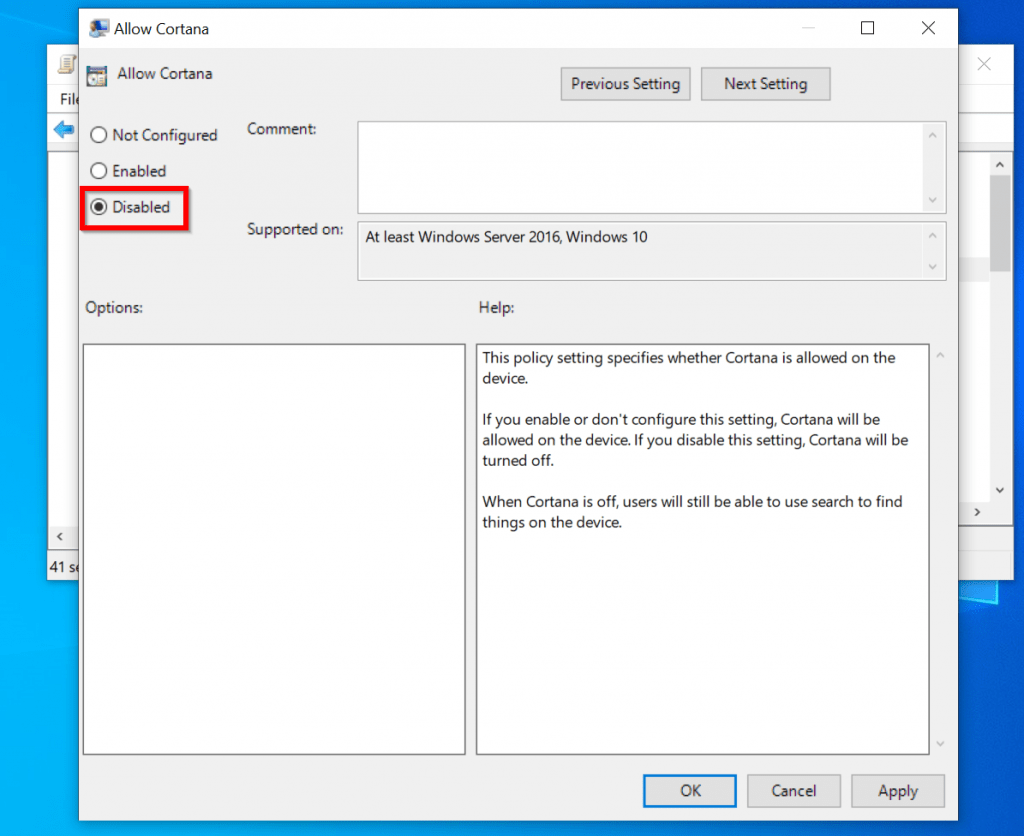 disable cortana windows 10