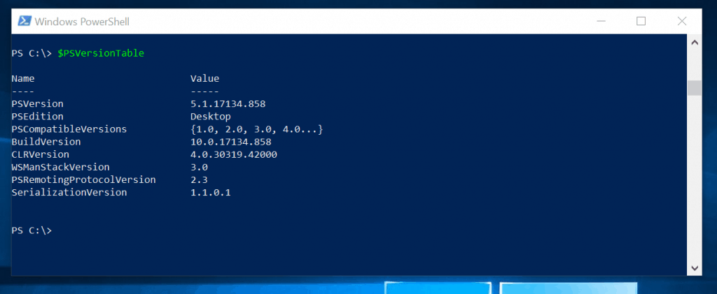 display PowerShell version with $PSVersionTable automatic variable