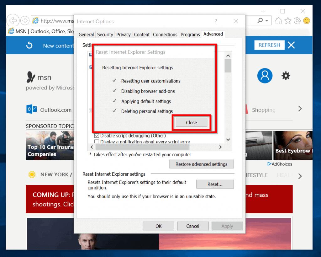 "Method 1 Fix for ""Internet Explorer Has Stopped Working"" - Internet Explorer reset"
