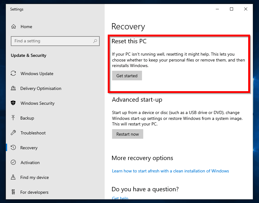 How to Reset Windows 10 from with Windows 10 - Recovery settings