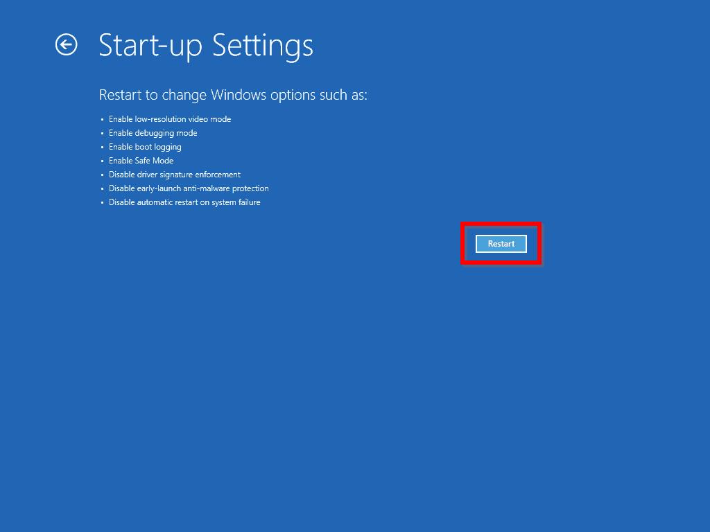 windows 10 safe mode - Windows 10 Start-Up Settinsg