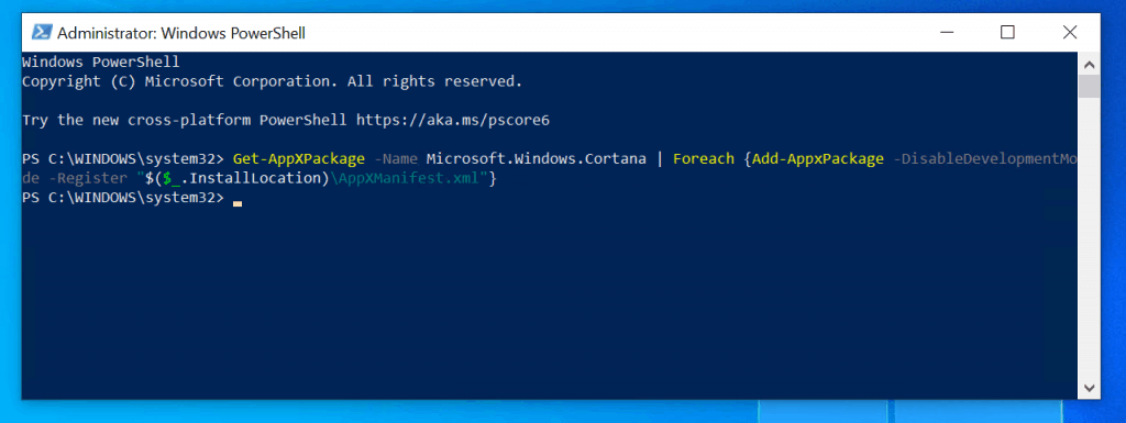 Windows 10 search not working problem - reinstall Cortana with Powershell