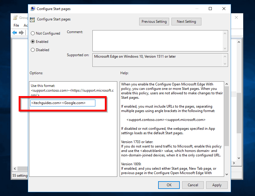 set homepage in edge with Goup Policy