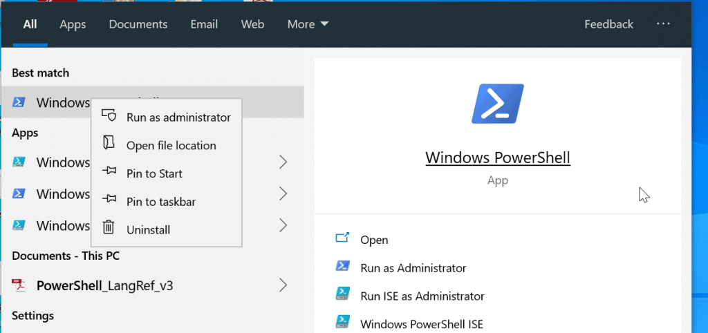 office 365 powershell - open PowerShell as administrator