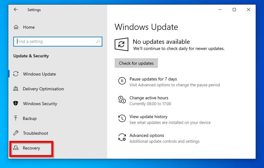 roll back windows 10 update