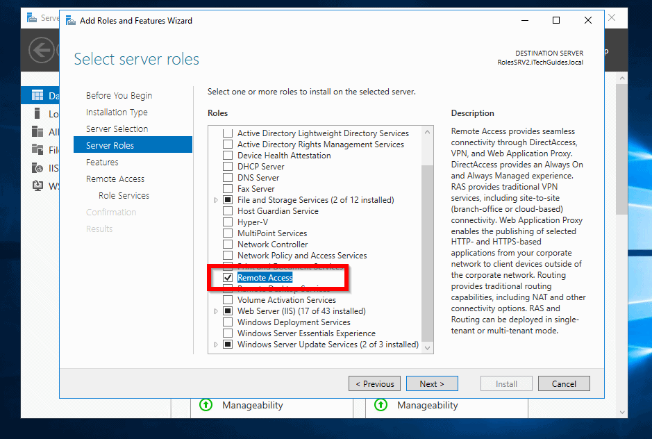 routing and remote access windows server 2016 - install Remote Access role