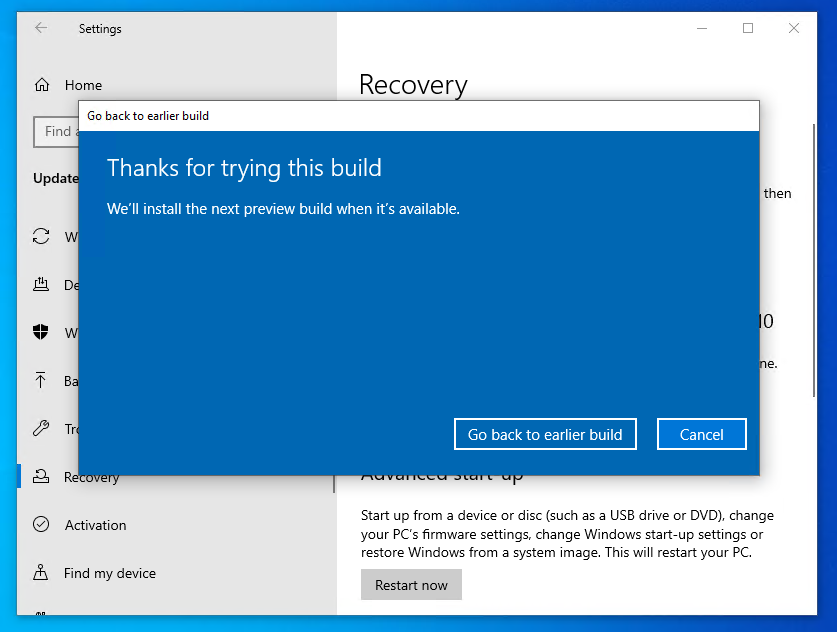roll back windows 10 update - click Go back to earlier build