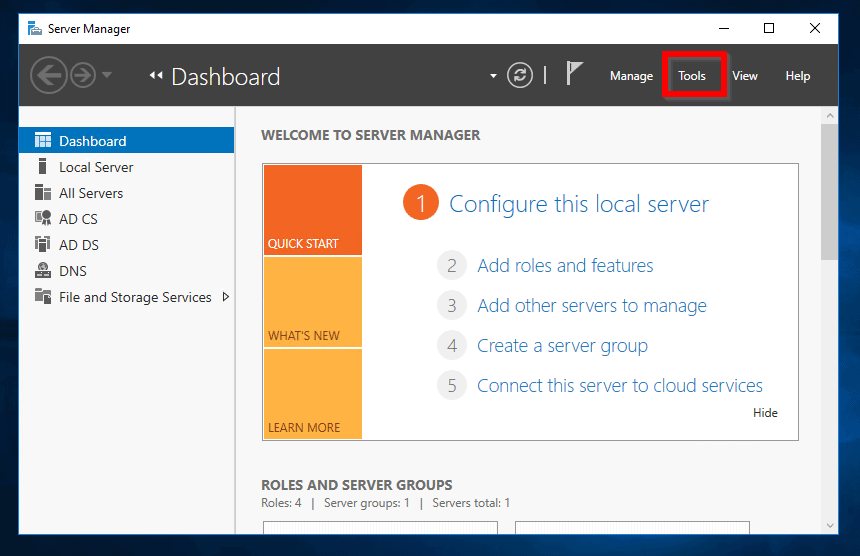 Set Homepage in Microsoft Edge with Group Policy - Login to Windows Sever 2016. Then open Server Manager.