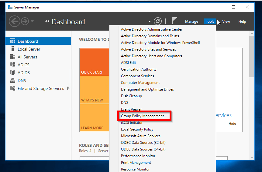 From Server Manager, click Tools. Then select Group Policy