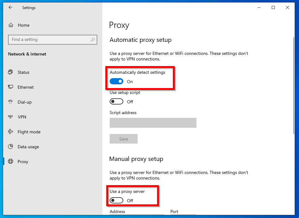 Windows could not automatically detect this network's proxy settings - check proxy setup