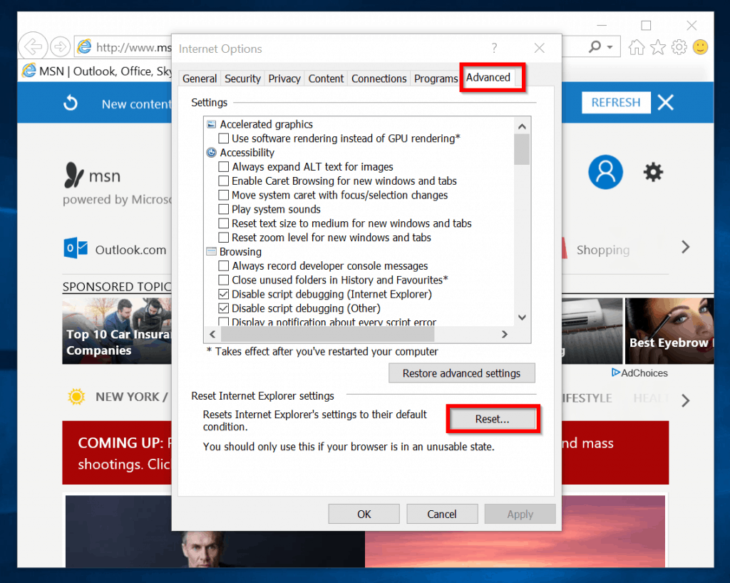 """Method 1 Fix for """"Internet Explorer Has Stopped Working"""" - Internet Options, General tab"""