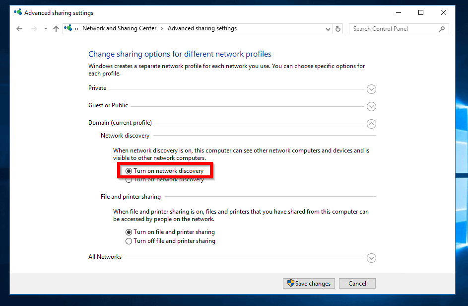 network discovery keeps turning off server 2016 - turn on network discovery