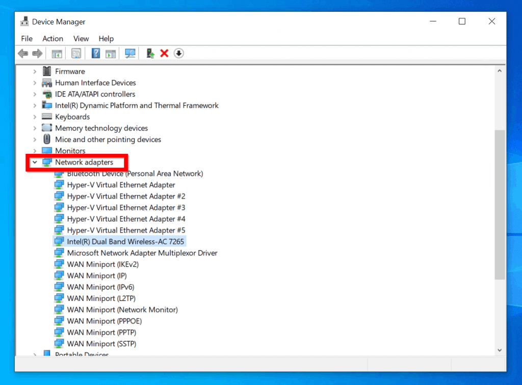 Fix for Wifi not working on Windows 10 1903: Disable and re-enable Wifi Adapter