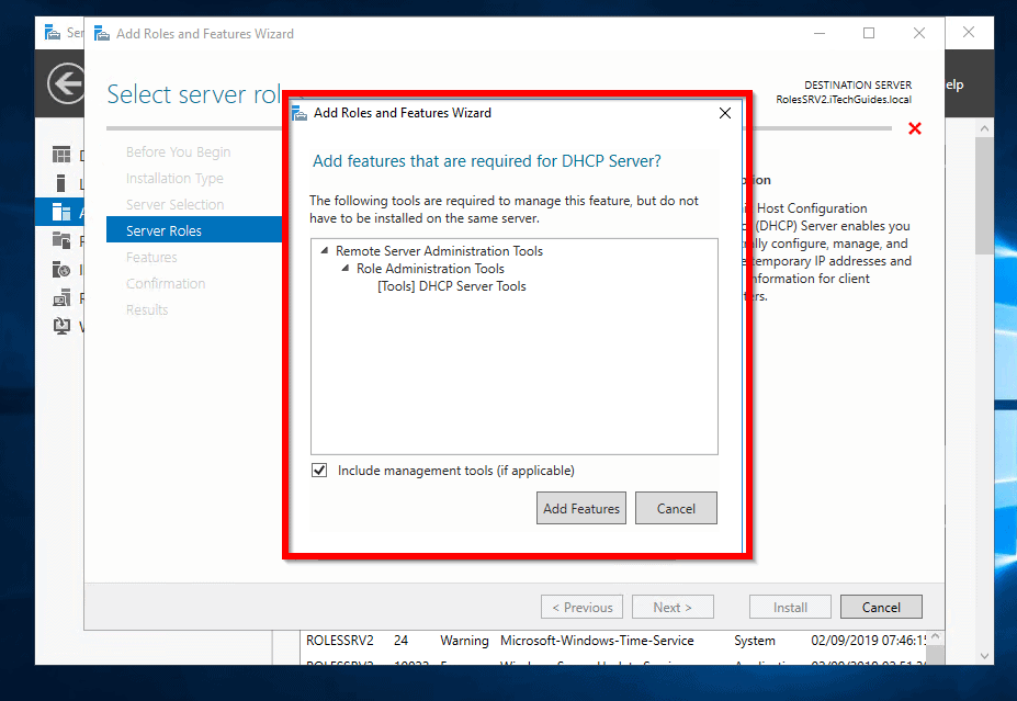 how to setup dhcp server 2016 - Add features that required for DHCP Server