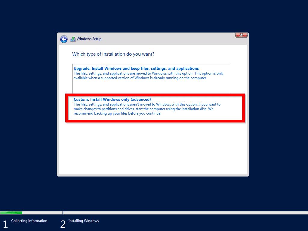 Install Windows Server 2019 from USB