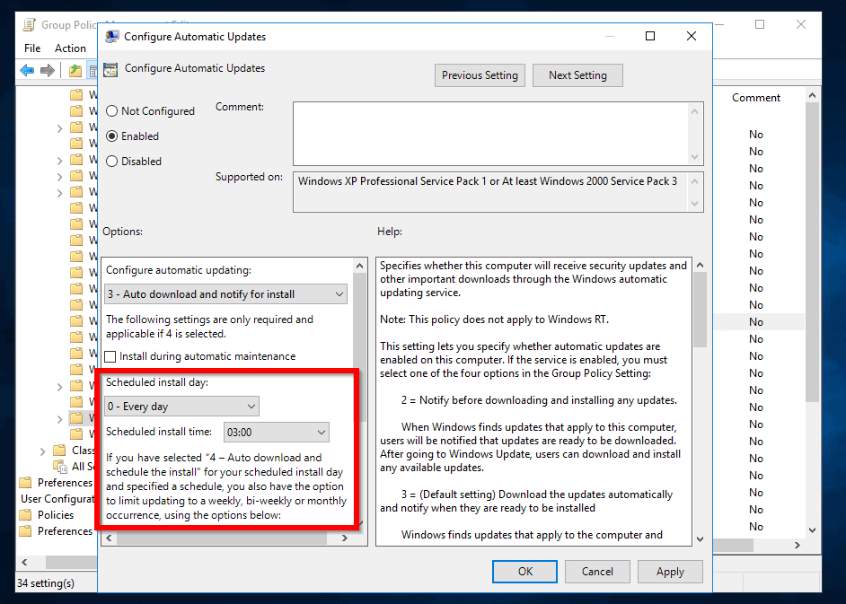 Group Policy Windows Updates Server 2016: Configure GPO for WSUS